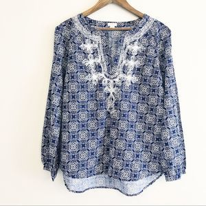 J. Crew V neck printed embroidered tunic navy Sm